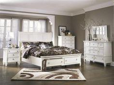 Prentice Cottage White Wood Glass Bedroom Set B672