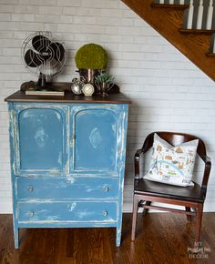 Ugly Yellow Cabinet Makeover-Now Pretty in Aubusson Blue