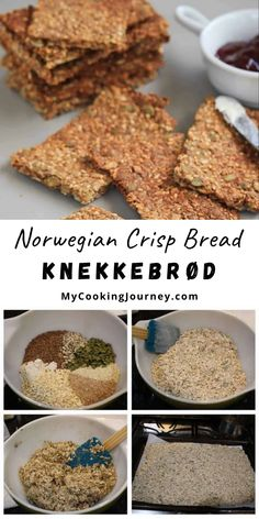 This Norwegian Crisp Bread | Knekkebrød, is a wonderful hard bread loaded with whole grains and seeds. Great for snacking and for energy boost. #bread #norwegianbread #crispbread  @mycookinjourney | mycookingjourney.com Beef Recipes, Snack Recipes, Dessert Recipes, Yummy Recipes, Hard Bread, Recipe Form, Crisp Bread, Friend Recipe, Good Food
