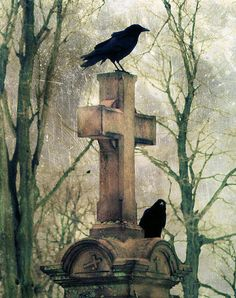 Crows And Old Cross Poster By Gothic And Crows Art Photography