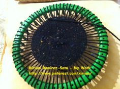 ♥LMW-MRS♥Work in progress, weaving on a wonderful green loom.  I'll pin the hat when done.
