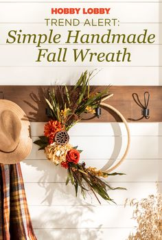 Give Thanksgiving the welcome it deserves with this handmade fall wreath. Fall Projects, Diy Projects Videos, Hobby Lobby Fall Decor, Fall Wreaths, Diy Wreath, Thanksgiving Decorations, Decor Crafts, Easy Diy, Seasons
