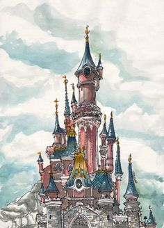 A sketch of the castle in Disneyland Paris, drawn while waiting for the fireworks show www.facebook.com/photo.php?fbi… and watercoloured at home much later on. *edited the file to clean up p...
