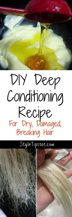 DIY Deep Conditioning Recipe for Damaged Hair All natural ingredients penetrate the hair shaft to strengthen, smooth, and encourage super fast hair growth. - Unique World Of Hairs Hair Mask For Damaged Hair, Hair Mask For Growth, Diy Hair Mask, Hair Masks, Frizzy Hair, Damaged Hair Repair Diy, Wavy Hair, Breaking Hair, Def Not