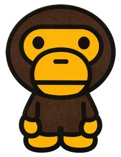 4.25 inch X 5.75 inch Bape Monkey A Bathing Ape Gorilla ~ Baby Milo Heat Iron On Transfer
