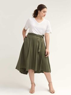 Shop online for Belted High-Low Skirt - L&L. Find Sale-Dresses-Skirts, and more at AdditionElle Plus Size Skirts, Plus Size Outfits, Trendy Outfits, Trendy Fashion, Addition Elle, Wide Width Shoes, Stylish Plus, High Low Skirt, Lingerie