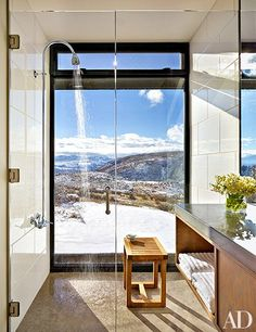 bathroom with a breath taking view