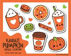 30% OFF Coffee clipart kawaii coffee clipart pumpkin spice