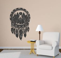 Wall Vinyl Sticker Decals Mural Room Design Pattern Indian Dreamcatcher Feathers Mountains Eye See Everything bo244 by RoomDecalsAndDesigns on Etsy