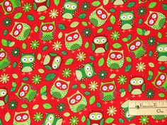 Seasons Greetings 2016 Red Trees Christmas Fabric by the Yard Owl Fabric, Christmas Owls, Mixed Media Painting, Fabrics, Yard, Placemat, Sewing, Pattern, Color