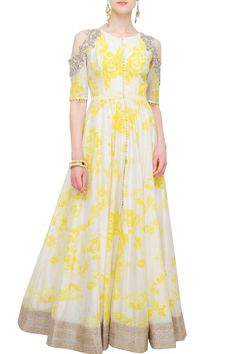Off-white and yellow floral anarkali