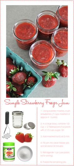 Ackley - strawberry-jam - this looks easy & no cooking. You do need to store in refrigerator/freezer. You control the sugar! If you just have to have something sweet. Great to mix in yogurt. Think Food, I Love Food, Good Food, Yummy Food, Fun Food, Jam Recipes, Canning Recipes, Healthy Recipes, Jelly Recipes