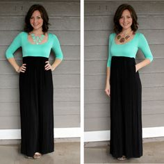 Color blocking at its finest! If you are looking for the PERFECT fall to winter maxi dress, look no further!!!