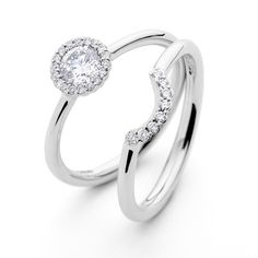 Andrew Geoghegan Cannelé Engagement Ring And Wedding Band In White Gold With Diamonds