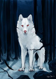 "Ghost ♥       Spettro  Jon Snow's albino direwolf Ghost from ""A Song of Ice and Fire"" series.  I really like this saga (I've just finished the first one) despite the amount of favorite characters that continue to die every now and then (If Arya dies I will have to strangle someone)  Highly inspired by my favorite artists on the interwebz: akreon , sandara and kundagi (she has a tumblr too!).  For every leaked spoilers a Stark dies so please be considerate!"