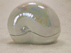 Vintage Lenox Shell Box Nautilus Seashell Fine Porcelain Figural Beach Shore Trinket Keepsake Ring