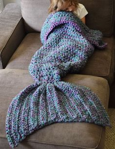 Gorgeous Crocheted Mermaid Tail Blanket