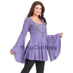 Rhiannon Renaissance Embroidered Lace-Up Bell Sleeve Tunic Top