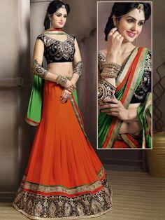 Splendorous Orange Color Georgette Lehenga Choli #NavratriCollection