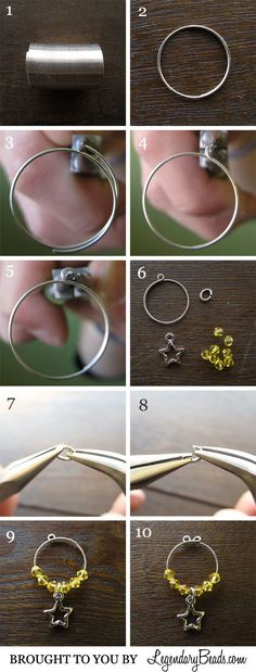 Wine Charm Tutorial great idea- instead of trying to connect them- use memory wire and have the two ends overlap