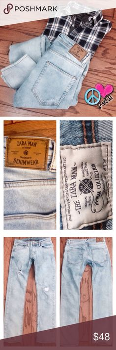 'Zara Man' Denim Jeans  From 'The Zara Man Denim Wear Collection'  Light-Washed w/ some Distress on Front ..  Slim Fit .. Really Amazing Denim Jeans.  Size 30x30  These Fit so Close to Zara Woman's Boyfriend Jeans in Style & Cut   Very Good Condition .. ❌❌NO TRADE❌❌ Zara Man Jeans Slim Straight