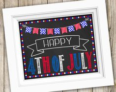 Happy 4th of July Sign Instant Download ~ Printable Happy Fourth of July Photo Prop ~ July 4th Party Decoration Sign Independence Day Print by SubwayStyle on Etsy