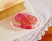 Pink Czech Glass Paperweight, Egermann Hand Blown Bohemian Pink Swirl and Clear Art Glass Home Decor Desk Decor, Gift for Her Graduation