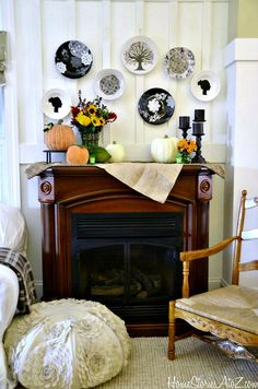 Mantel  Decorations : IDEAS & INSPIRATIONS : Country Living Inspired Fall Mantel with Martha Stewart Glass Paint