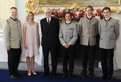 (L-R) Wolfgang, Prince of Bavaria, his second wife Princess Tatjana, Franz, Duke of Bavaria and children of Prince Wolfgang, Prince Philipp, Prince Richard and Prince Tassilo during the 80th birthday reception of Franz, Duke of Bavaria at Shliessheim Palace near Munich, Germany, 22 July 2013