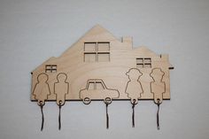 House She Her Key Rack Holder Wall car family CNC Cut file Laser DXF CAD drawing cuttable pattern line cdr svg graphic digital router design