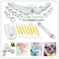 Yakamoz Cake Decration Tool Kit Fondant Cake Cookie Cutter Mold Sugarcraft Icing Decorating Flower Modelling Tools 14 Sets  46pcs *** More info could be found at the image url.