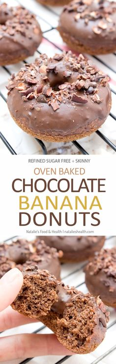 Baked whole wheat double chocolate banana donuts infused with cinnamon and topped with melted dark chocolate. These are made with all healthy ingredients, nutritious and contains no refined sugars! CLICK to read more or PIN for later! #donuts #doughnuts #