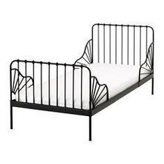"Ext bed frame with slatted bed base MINNEN black. MINNEN Ext bed frame with slatted bed base, black - 38 "" - IKEA. Extendable, so it can be pulled out as your child grows. Ikea Toddler Bed, Black Toddler Bed, Ikea Minnen Bed, Cama Ikea, Ikea Family, Ikea Kids, Bed Slats, Simple Bed, Bed Base"