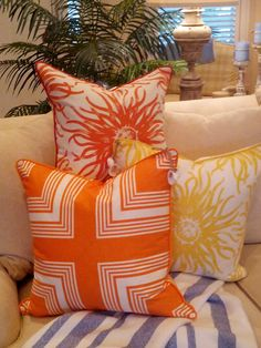 Zesty Tangerines  Lemons! - #CoastalPillows - #BeachPillows
