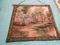 """Thomas Kinkade Tapestry/Wall Hanging """"Hometown Lake"""""""