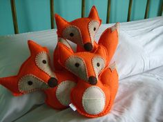 Handmade, Hand Sewn Tooth Fairy Pillow Fox. Blue, Brown, Orange Eco Felt. Vegan. Vintage Fabric. Secret Pocket.