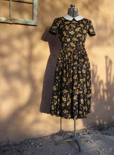 Vintage 1950s Dress Calico Cotton US4 B 34 W 25 by bycinbyhand, $85.00