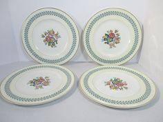 Wedgwood Bone China Dinner Plates Woodstock Set of 4 Cream White Blue Laurel  #Wedgwood