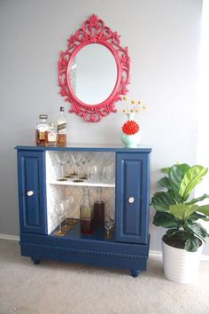 Amazing upcycle of an old TV stand into a fabulous bar! Creating With the Stars Week 1 Project: Upcycle « Love & Renovations