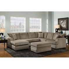 Shop for the American Furniture 6800 Sectional Sofa with Left Side Chaise at Royal Furniture - Your Memphis, Nashville, Jackson, Birmingham Furniture & Mattress Store Royal Furniture, Brown Furniture, Mirrored Furniture, At Home Furniture Store, Living Room Furniture, Basement Furniture, Furniture Market, My Living Room, Living Room Decor