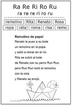 Estudio de la letra r (Ficha Nº 18 Complementaria al Silabario)