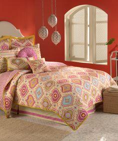 Look at this #zulilyfind! Mustard & Pink Casablanca Quilt by Nostalgia Home #zulilyfinds