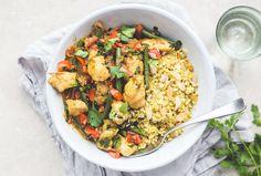 Healthy Fish recipe | Goan fish curry with cauli rice & almonds