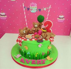 Teddy Bears picnic themed birthday cake