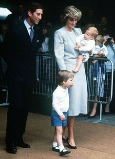 August 7, 1985: Prince Charles, Princess Diana, Prince William, Prince Harry  preparing to board The Royal Yacht Britannia in Southampton for the Western Isles.