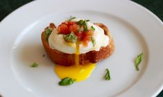 Poached Egg paired with french baguette, topped. French Baguette, Poached Eggs, Baked Potato, Avocado, Muffin, Toast, Dishes, Cooking, Breakfast