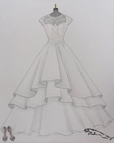 Custom wedding dress sketch wedding dress hand drawing say yes to the dress bride shoes wedding date paper gift one year anniversary - Dress Design Drawing, Dress Design Sketches, Fashion Design Sketchbook, Fashion Illustration Sketches, Fashion Design Drawings, Fashion Sketches, Design Illustrations, Drawing Sketches, Drawing Ideas