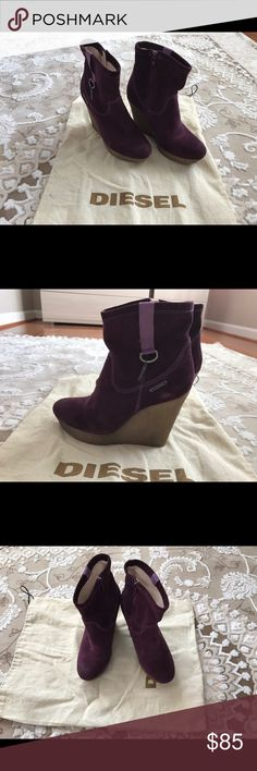 Diesel Purple Suede Ankle Wedge Heel Boots size 7 they're almost brand new, worn maybe only once or twice. I don't really remember , they've been sitting in my closet for a long time. They're size 7 Diesel Shoes Ankle Boots & Booties