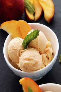 Healthy Peach Frozen Yogurt- No Churn: is sweet, tart, and delicious. Healthy Peach Frozen Yogurt is creamy and perfect served with fresh peaches