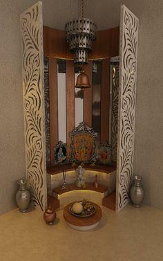 Pooja Mandir Design Ideas, Pooja Mandir Designs for Home, Cabinet Designs Temple Design For Home, Home Design, Home Interior Design, Flat Design, Interior Ideas, Design Ideas, Temple Room, Home Temple, Mandir Design